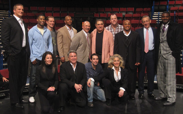 The Miami Dolphins & the Cast: back row (l-r) Jake Long, Rob Riley, Bill Dawes, Jeremiah Hutton, Tony Sparano, Dan Lauria, Chris Sullivan, Patrick Cobbs, Stephen Ross, Karlos Dansby / bottom row (l-r) Fran Kirmser, Tony Ponturo, Keith Nobbs, Judith Light