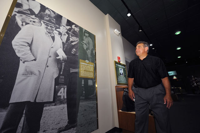 Dan Lauria at the Lambeau Field Hall of Fame.