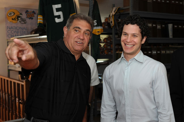 Dan Lauria, Thomas Kail at the Lambeau Field Hall of Fame.