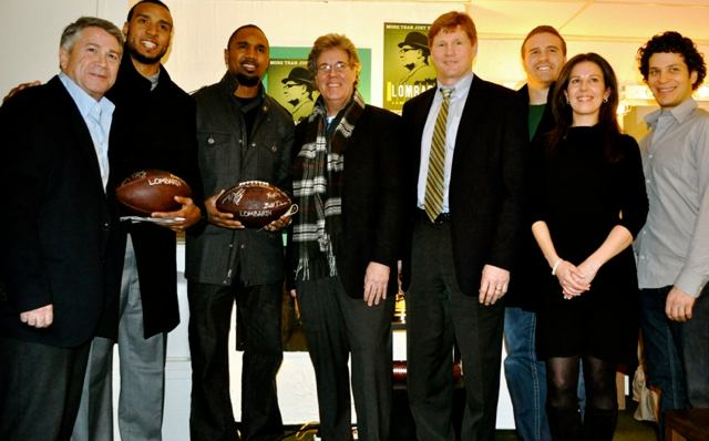From left: Tony Ponturo, Ryan Grant, Charles Woodson, David Maraniss, Mark Murphy, John Kuhn, Fran Kirmser, Tommy Kail